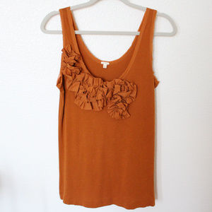 J. Crew Rust Orange Ruffled Ribbon Tank Top